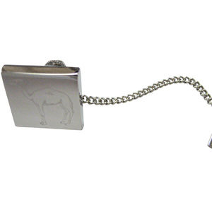 Silver Toned Etched Camel Tie Tack